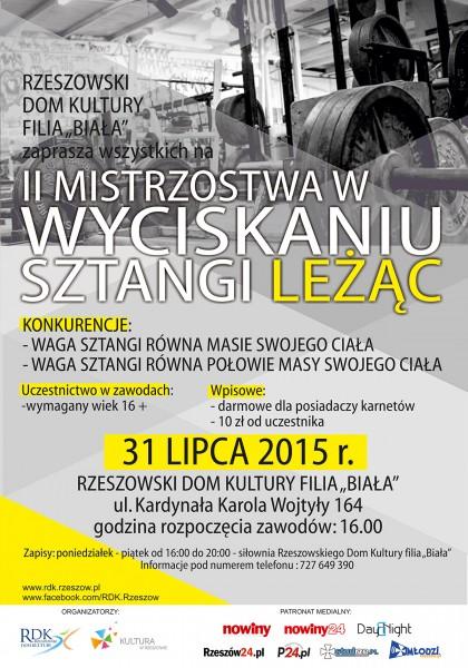 Plakat - II Mistrzostwa w Wyciskaniu Sztangi Leżąc