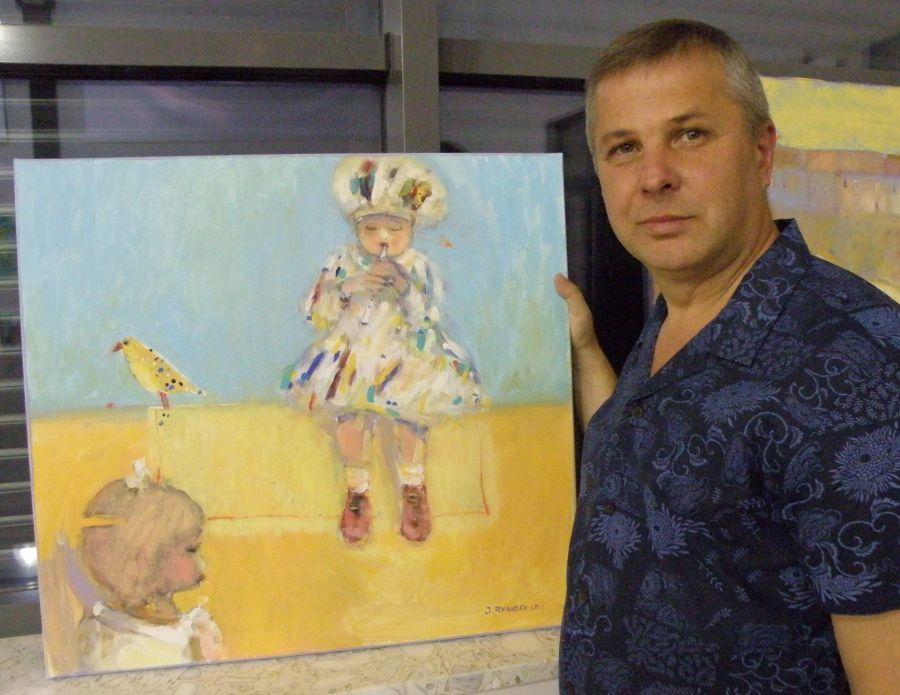 foto: Józef Franczak - artysta ze Strzyżowa prezentuje swoją pracę