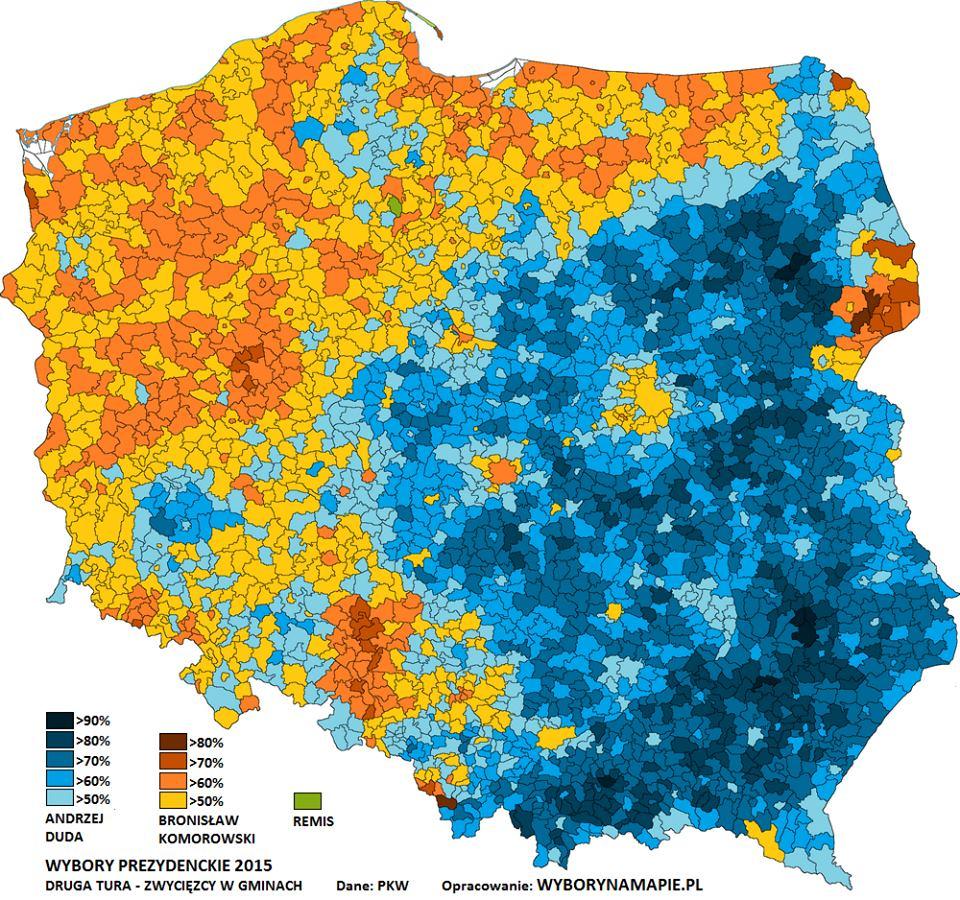 Wyborcza mapa Polski po drugiej turze wyborów prezydenckich 2015 - gminy