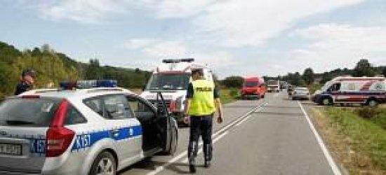 Wypadek busa z karetką w Brzezówce