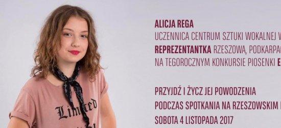 Spotkanie na rzeszowskim Rynku z reprezentantką Rzeszowa i Polski na Konkursie Piosenki Eurowizji Junior w Tbilisi – Alicją Regą