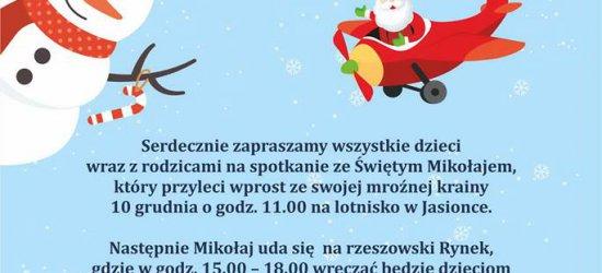 Mikołaj ląduje na lotnisku w Jasionce